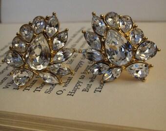 Vintage Monet clip on rhinestone earrings