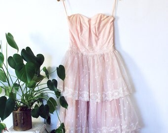 """50s tiered polkadot lace pastel pink formal prom dress / small 26"""" waist AS IS"""