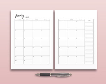 2017 Monthly Planner, Printable Planner Inserts, Minimal Monthly Planner Page, Planner Calendar Page, Printable Calendar, Business Organizer