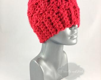 Red Chunky Crochet Hat, Scarlet Crochet Beanie, Cherry Red Toque, Bright Red Winter Beanie, Knit Ski Cap