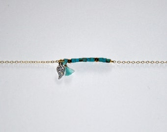 Vintage bracelet very fine gold-plated with turquoise stone, pyrites and zircons leaf
