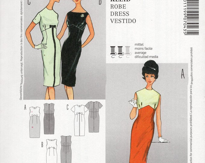 FREE US SHIP Burda Style 7043 Vintage Retro 1960s 60s Reproduction Mod Empire Wiggle Dress Sewing Pattern Size 10/20 Bust 32 34 36 38 40 New