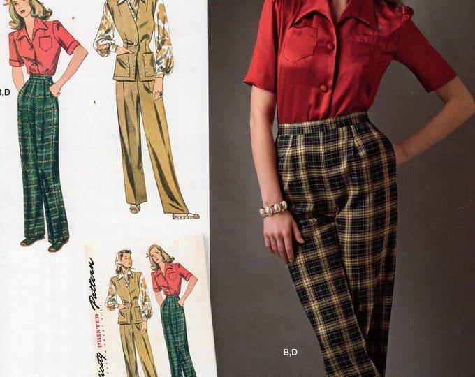 Simplicity 0577 8243 Free Us Ship Vintage 1940's Katherine Hepburn Shirt pants Reproduction Sewing Pattern  Uncut Size 6/14 Bust 29-36