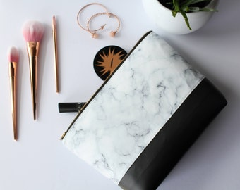 Marble Makeup Bag, Waterproof Cosmetic Bag, White Marble Makeup Bag, Black Cosmetic Bag, White Makeup Bag