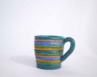 Turquoise mug, gift, Handmade blue, red  ceramic cup for tea or coffee, Stoneware mug, pottery mug, ceramic mug, ceramics and pottery, happy