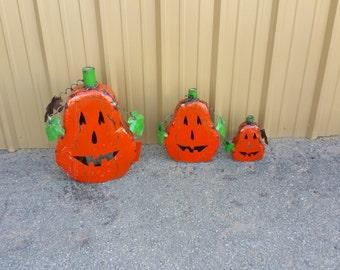 Rustic metal pumkins -orange pumpkins -metal pumpkins