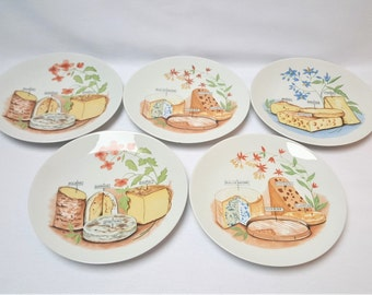 Cheese plates, porcelain Philippe DESHOULIERES, French cheeses, French table, vintage, circa 1980