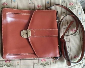 Vintage Leather Small Satchel, French Crossbody Bag for Small Tablet, Compact Messenger Bag