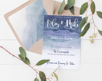 Blue Ombre Wedding Invitation Deposit