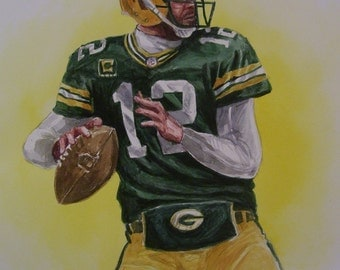 Aaron Rogers, Green Bay QB,16x20 Original Watercolor Painting,One of a Kind,Not a Print,