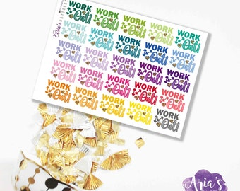 WORK OUT! Fun Words, Phrases, Exercise, Motivation, Gym, Fit - 1 Sheet, 24 Stickers - Perfect for use in ECLP, Kikki K, Travelers Notebook