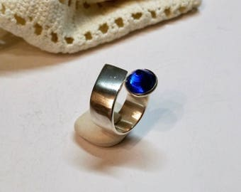 18.5 mm designer ring Silver 925 cone blue SR595