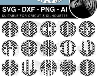 Chevron Circle Monogram SVG Font Files for Cricut Silhouette Laser Cut Engraved svg dxf png ai (scrap booking clip art clipart vinyl)