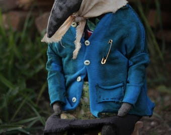 RESERVED Grandma crow art doll strange toy russian village creepy