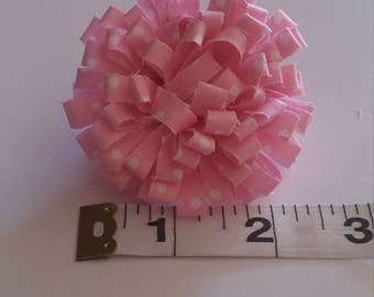 Pink and White Polka Dot Fabric Bow