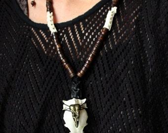 SALES!! Skull - Bronze Crow Skull - Steampunk - Tribal - Ethnic - Shamanism - Amazonian - Snake Bones - Travelling - Boho - Original-Organic