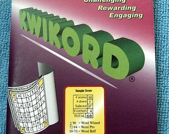 KWIKORD is now available in booklet size for the individual player.