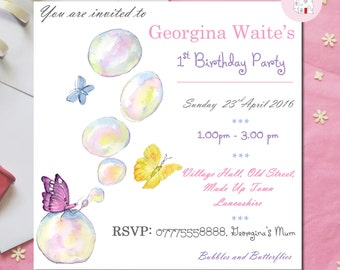 Digital Download Butterflies and Bubbles 1st Birthday Invitation