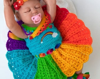 Baby Dress, Baby Girl Rainbow dress, Baby Girl Clothes, Rainbow Baby Outfit, Baby Shower Gift, Baby Clothing Set, Rainbow Photo Props, Baby