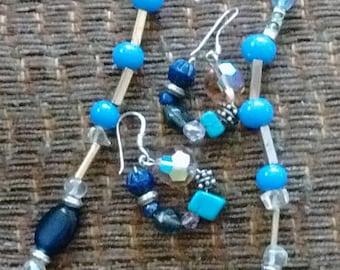 Repurposed, recycled, hand beaded jewelry set