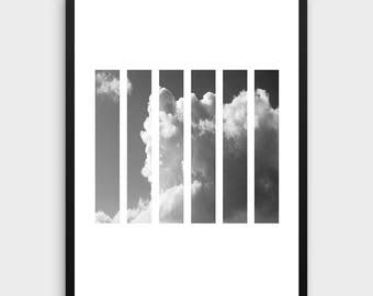 Clouds Wall Print | Cloud Print Art, Digital Print, Minimalist Black and White Wall Print, Modern Photography Print, Black White Photography