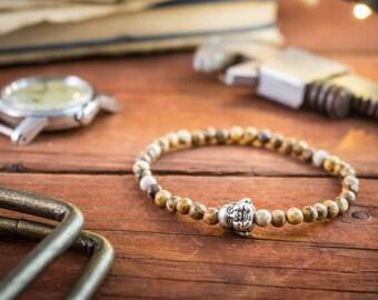 4mm - Brown jasper beaded stretchy bracelet with smiling Buddha, mens beaded bracelet, mens bracelet, gemstone bracelet