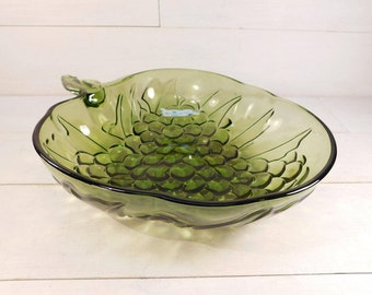 Indiana Glass Co Green Glass Grape Bowl, Fruit Bowl, Serving Bowl