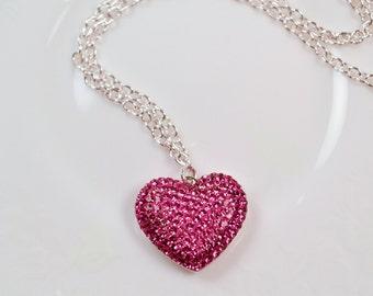 Pink Pave Swarovski Crystal Heart Necklace
