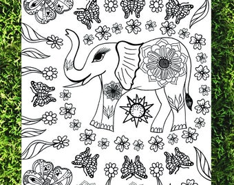 elephant coloring floral coloring mandala coloring detailed coloring hand illustrated coloring