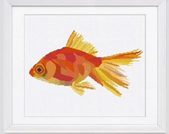 Cross Stitch Pattern,  Goldfish instant download PDF cross stitch pattern, Goldfish cross stitch pdf pattern, goldfish counted cross stitch