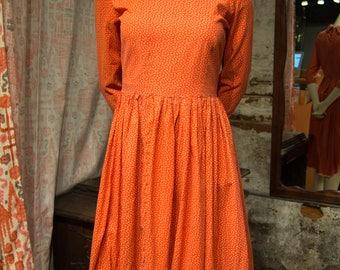 Vintage Red and Yellow Polka Dot Cotton Midi Dress 3/4 Length Sleeves