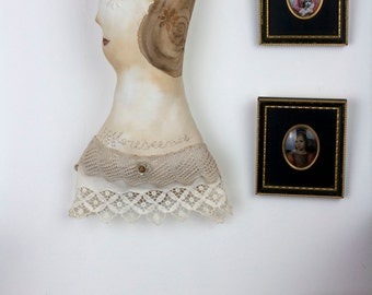 Wall Art Vintage-OOAK Soft Sculpture Textile Art embroidered wallhanging collectors art doll ornament