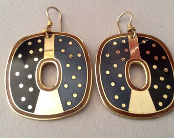 Laurel Burch Gold and Black Dotted Dangle Pierced Earrings
