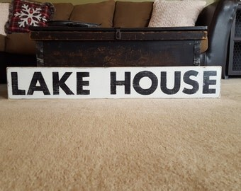 Lake House Sign, Lake Sign, Lake House Decor, Vacation Home Decor, Wood Sign, Hand Painted Sign, Distressed Sign, Farmhouse Decor