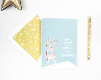 Cute Holiday Reindeer and Birdie Greeting Card, Christmas, Family, Snow, Holiday Card