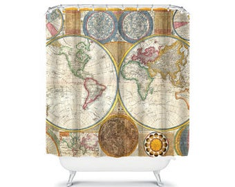 Vintage World Map Shower Curtain Vintage Bathroom Decor, Home Living, Globe  Shower, Vintage