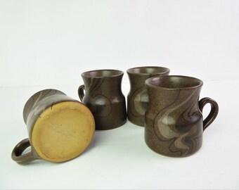 Hand thrown mugs / coffee mugs, cups, mid century earthy studio pottery mugs, rustic, retro - set of four
