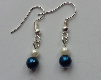 Dark Blue and White Faux Pearl Earrings