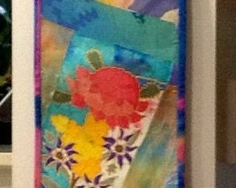 Art Quilt, Wallhanging, Silk Collage, Free Machine Embroidery
