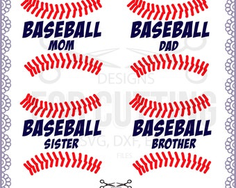 BASEBALL Family, Mom, Dad, Sister, Brother, quotes, Files .Studio3, .Svg, Dxf, Eps, Baseball Cuttable Designs, Instant Download. 0587