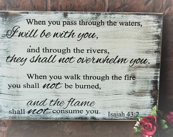 Bible Verse Wall Art - Carved Wood Signs - Encouragement Gift - Isaiah - When You Go Through The Waters I Will Be With You - Wood Signs