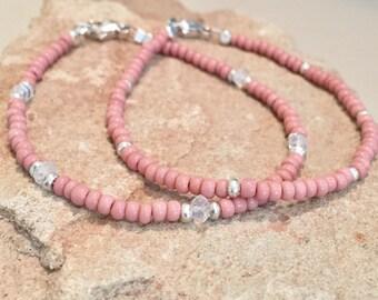 Pink bracelets, seed bead bracelet, Czech seed bead, moonstone bracelet, gemstone bracelet,  Hill Tribe silver bracelet, gift for her