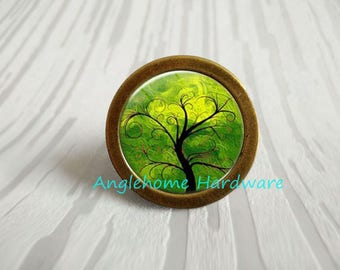 Life Tree - Drawer Knobs Pulls Handles / Antique Bronze  Kitchen Cabinet Knob Handle Pull / Antique Silver Dresser Drawer Knob Pull Hardware