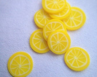 Miniature Lemon Fimo Cane Slices