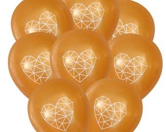 Geometric Heart Balloons - Gold Pack of 8 | Himmeli Birthday Decorations Sweet Baby Shower Wedding | Boho Bohemian String Art Dream Catcher
