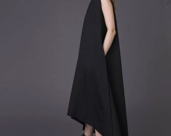 Long asymmetric dress / New asymmetric dress / Black asymmetric dress / Asymmetric dress with pockets / Black designer dress