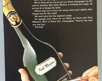 "1970 Paul Masson's Blanc de Pinot Print Ad - ""Almost announcing"" - California Champagne"