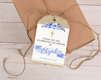 Blue Baptism Favor Tags, Christening Tags, Baptism Favor Tag, Baptism Favors, Baptism Tags, Christening, Thank You Tags, Baptism Thank You
