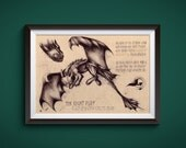 Large - Toothless - How to train your dragon Art Print