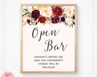 Open Bar Sign, Open Bar Wedding Sign, Printable Signs Wedding, Reception Bar Sign, Floral Burgundy Marsala, Instant Download - Kylie